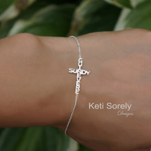 Sideways Cross Bracelet With 2 Crossing Names - Solid Gold or Sterling Silver