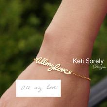 Custom Order for Handwritten Signature Bracelet -10K Yellow Gold