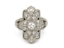 Platinum Diamond Art Deco Dinner Ring