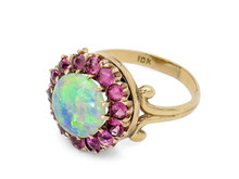 10 Karat Yellow Gold Victorian Opal and Pink Sapphire Halo Cocktail Ring