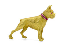 18 Karat Yellow Gold Boxer Brooch