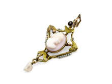 Victorian 10k Yellow Gold Seed Pearl & Cameo Pendant