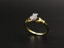 18 Karat Yellow and White Gold Diamond Claddagh Ring