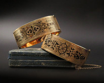 14 Karat Yellow Gold Victorian Hinged Bangles with Taille D'Epargne Designs