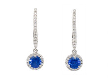 14 Karat White Gold Sapphire and Diamond Halo Drop Earrings
