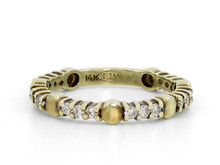 14 Karat Yellow Gold Diamond Band with Gold Circle Accents