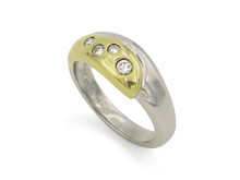 Platinum and 18 Karat Yellow Gold Diamond Ring