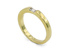 14 Karat Yellow Gold Band with Baguette Diamond Accent