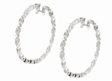 18 Karat White Gold 1.95 Carat Total Weight Inside Out Hoops
