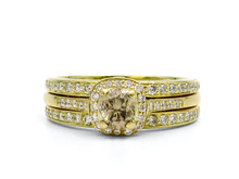 18 Karat Yellow Gold Champagne and White Diamond Ring