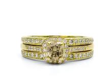 18 Karat Yellow Gold Champagne and White Diamond Ring