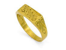 22 Karat Yellow Gold Engraved Rectangular Top Ring