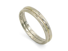 14K White Gold Double Plain Band Engraved 1925 Belais