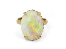 14 Karat Yellow Gold 7.75 Carat Opal Ring