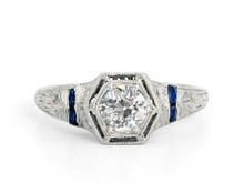 Platinum Art Deco 0.49 Carat Diamond and Sapphire Ring