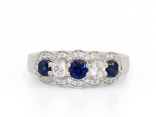 14 Karat White Gold Diamond and Sapphire Halo Band