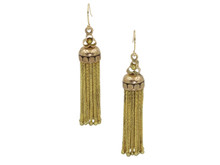 Victorian Tassel Earrings in 14 and 18 Karat Yellow Gold with Black Enamel
