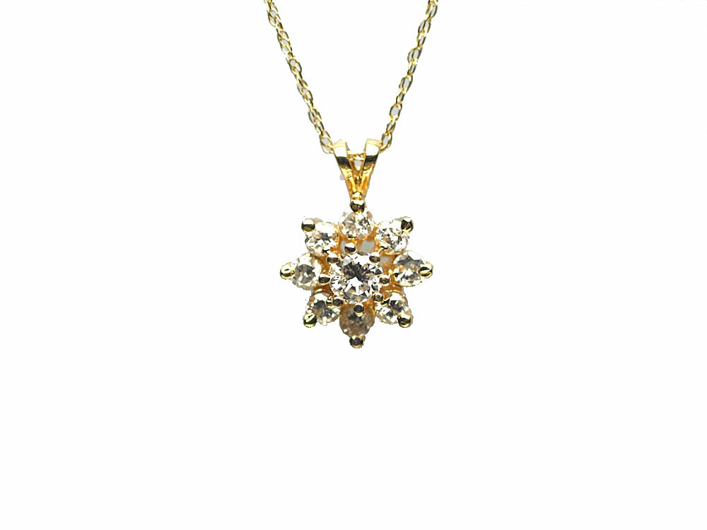 14 Karat Yellow Gold Diamond Cluster Pendant - Lippa's ...