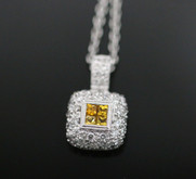 18 Karat White Gold Yellow Sapphire and Diamond Necklace