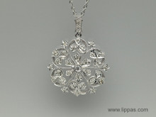 18 Karat White Gold Diamond Scroll Pendant