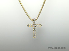 18 Karat Yellow Gold Diamond Cross