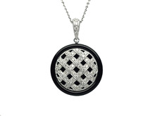 14 Karat White Gold Diamond and Onyx Weave Pendant