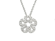 18 Karat White Gold Diamond Flower Pendant