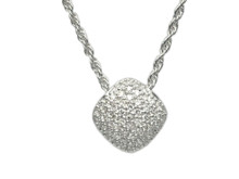 14 Karat White Gold Diamond Shape Pavé Diamond Pendant