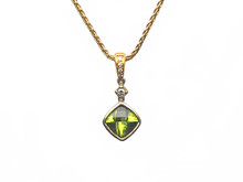 14 and 18 Karat Yellow Gold Peridot and Diamond Pendant