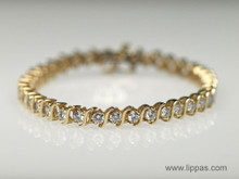 14 Karat Yellow Gold 4.71 Carat Diamond Tennis Bracelet