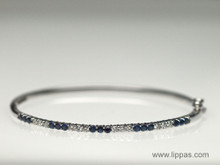 18 Karat White Gold Sapphire and Diamond Bangle Bracelet
