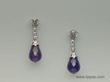 18 Karat White Gold Amethyst Briolette and Diamond Drop earrings