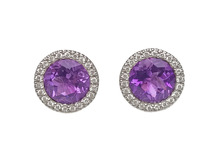14 Karat White Gold Amethyst and Diamond Halo Earrings