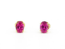 14 Karat Yellow Gold Oval Pink Tourmaline Stud Earrings