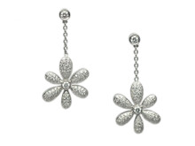 14 Karat White Gold Pavé Diamond Flower Drop Earrings
