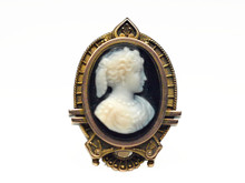 14 Karat Yellow Gold Victorian Agate Cameo Brooch