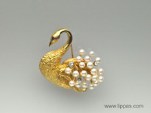 18 Karat Yellow Gold Pearl, Diamond and Ruby Swan Brooch