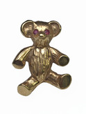 14 Karat Yellow Gold Teddy Bear Brooch with Ruby Eyes