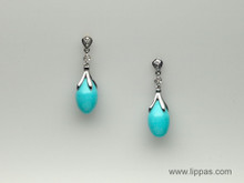14 Karat White Gold Turquoise and Diamond Drop Earrings