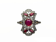 Edwardian Platinum Topped 18 Karat Yellow Gold Ruby and Diamond Ring