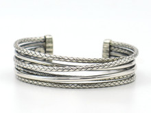 Sterling Silver Six Row Cuff Bracelet