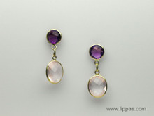 14 Karat Yellow Gold Pink Quartz and Amethyst Drop Earrings