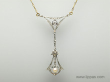 Edwardian Platinum Topped Gold Diamond and Pearl Necklace