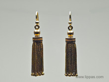 14 Karat Yellow Gold and Black Enamel Tassel Victorian Earrings