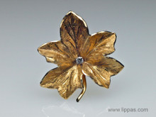 14 Karat Yellow Gold Maple Leaf Diamond Brooch
