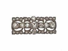 Silver Topped Gold Victorian Diamond Bar Brooch