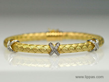 14 Karat Yellow and White Gold Weave Bangle Bracelet With Diamond X's