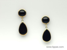 14 Karat Yellow Gold Onyx Drop Earrings