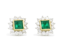 Platinum and 18 Karat Yellow Gold Emerald and Diamond Cluster Earrings