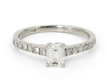 Platinum 0.54 Carat Emerald Cut Diamond Ring